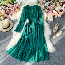 Dress Autumn 2020 Pink, black, red, rose, green, yellow M, L Mid length dress singleton  Long sleeves commute V-neck High waist Solid color Socket A-line skirt routine Others 18-24 years old Type A Korean version Pleating, stitching, asymmetry, buttons 30% and below Chiffon other