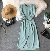 Dress Summer of 2019 Green, orange, blue, pink, yellow Average size Mid length dress singleton  Sleeveless commute Crew neck High waist stripe Socket One pace skirt other Others 18-24 years old Type X Korean version Bowknot, ruffle, tuck, lace up, stitching, asymmetry, bandage, wave, print