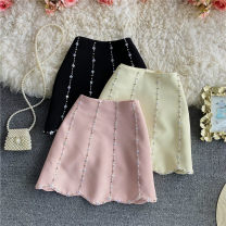 skirt Summer 2021 S,M,L Black, apricot, pink Short skirt commute High waist A-line skirt Solid color Type A 18-24 years old 30% and below other other Diamond, zipper