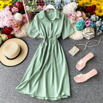 Dress Summer 2020 Light green, off white, red, sky blue, black Average size Mid length dress singleton  Short sleeve commute Polo collar Solid color Socket other other Others 18-24 years old Type A Korean version