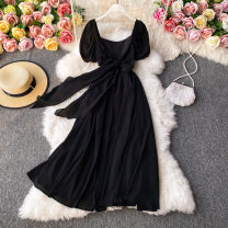Dress Autumn 2020 black S,M,L Mid length dress singleton  Long sleeves commute square neck High waist Solid color Socket A-line skirt routine Others 18-24 years old Type A Korean version 30% and below other other