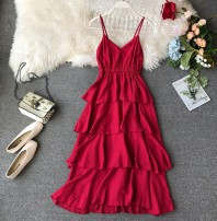 Dress Summer of 2019 S, M Mid length dress singleton  Sleeveless commute V-neck High waist Solid color Socket Cake skirt routine camisole 18-24 years old Type A Korean version Ruffle, tuck, open back, fold, Auricularia auricula, splicing, asymmetry, wave
