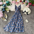 Dress Summer 2020 Black, pink, blue, apricot S,M,L longuette singleton  Sleeveless commute V-neck High waist Broken flowers Socket A-line skirt routine camisole 18-24 years old Type A Korean version Ruffle, open back, lace, bandage, wave, print 30% and below Chiffon polyester fiber