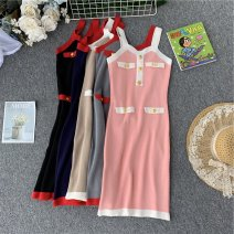 Dress Summer of 2019 Black, blue, apricot, gray, pink Average size Middle-skirt singleton  Short sleeve commute V-neck High waist Solid color Socket A-line skirt other camisole 18-24 years old Type A Korean version Open back, stitching, waves 31% (inclusive) - 50% (inclusive) knitting