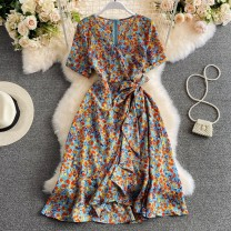 Dress Summer 2021 Lake blue S,M,L,XL Mid length dress singleton  Short sleeve commute V-neck High waist zipper A-line skirt routine Others 18-24 years old Type A Korean version Lace, lace, zipper, print 30% and below other other