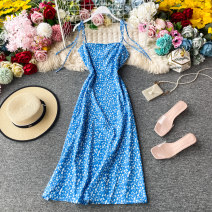 Dress Summer 2020 blue S,M,L Mid length dress singleton  Sleeveless commute One word collar High waist Broken flowers Socket A-line skirt camisole 18-24 years old Type A Korean version Backless, lace up, asymmetrical, printed 30% and below