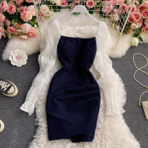 Dress Spring 2021 navy blue S,M,L,XL Middle-skirt singleton  Long sleeves commute square neck High waist Solid color Socket A-line skirt puff sleeve Others 18-24 years old Type A Korean version Pleating, open back, folding, splicing, asymmetry, wave 30% and below other other