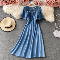 Dress Summer 2021 Black, blue, yellow, apricot, lotus root M, L Mid length dress singleton  Short sleeve commute square neck High waist Solid color Socket A-line skirt puff sleeve 18-24 years old Type A Korean version Fold, tridimensional decoration, lace 30% and below other other