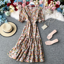 Dress Summer 2020 White, orange, purple, pink, violet Average size Mid length dress singleton  Short sleeve commute V-neck High waist Decor Socket A-line skirt routine Others 18-24 years old Type A Korean version 30% and below other other