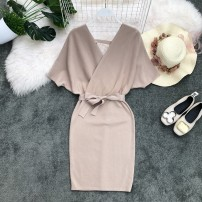 Dress Summer of 2019 Apricot, black, orange, red, pink, purple Average size Middle-skirt singleton  Short sleeve commute V-neck High waist Solid color Socket One pace skirt Bat sleeve Others 18-24 years old Type X Korean version Bow, open back, fold, Auricularia auricula, lace, stitching knitting