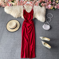 Dress Winter 2020 Black, red M, L Mid length dress singleton  Sleeveless commute V-neck High waist Solid color Socket A-line skirt routine camisole 18-24 years old Type A Korean version 30% and below other other