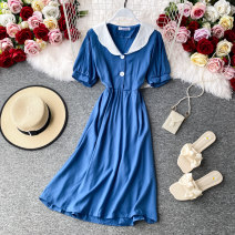 Dress Summer 2020 White, black, blue Average size Mid length dress singleton  Short sleeve commute V-neck High waist Solid color Socket A-line skirt routine Others 18-24 years old Type A Korean version 30% and below other other