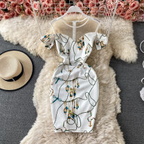 Dress Summer 2021 white S,M,L Short skirt singleton  Short sleeve commute Crew neck High waist Decor Socket A-line skirt routine 18-24 years old Type A Korean version Stitching, printing 30% and below other other