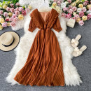 Dress Autumn 2020 Yellow, emerald green, violet, black, light brown, dark red, light pink Average size Mid length dress singleton  Short sleeve commute V-neck High waist Solid color Socket A-line skirt routine Others 18-24 years old Type A Korean version 30% and below other other