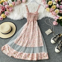 Dress Summer 2020 Black, pink, light green, white, white, black, white, pink, black, pink, white, blue. Average size Mid length dress singleton  Sleeveless commute V-neck High waist Decor Socket A-line skirt routine camisole 18-24 years old Type A Korean version 30% and below other other