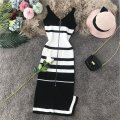 Dress Summer of 2019 Average size Mid length dress singleton  Sleeveless commute V-neck High waist stripe zipper One pace skirt other camisole 18-24 years old Type X Korean version Open back, stitching, asymmetric, zipper knitting