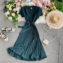 Dress Summer 2020 Average size Mid length dress singleton  Short sleeve commute V-neck Elastic waist Solid color Socket A-line skirt routine Others 18-24 years old Type A Korean version 30% and below