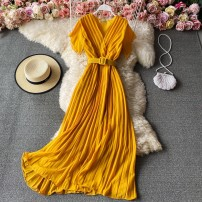Dress Winter 2020 Black, red, yellow, light brown, violet, orange Average size Mid length dress singleton  Sleeveless commute V-neck High waist Solid color Socket A-line skirt routine Others 18-24 years old Type A Korean version 30% and below other other