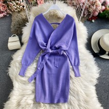Dress Winter 2020 Violet, light brown, red, black, camel Average size Mid length dress singleton  Long sleeves commute V-neck High waist Solid color Socket A-line skirt routine Others 18-24 years old Type A Korean version 30% and below other other
