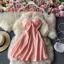Dress Winter 2020 Black, white, pink Average size Middle-skirt singleton  Sleeveless commute V-neck High waist Solid color Socket A-line skirt routine camisole 18-24 years old Type A Korean version 30% and below other other