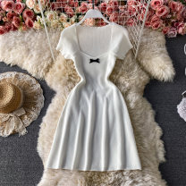 Dress Summer 2021 Black, white Average size Middle-skirt singleton  Short sleeve commute square neck High waist Solid color Socket A-line skirt routine Others 18-24 years old Type A Korean version bow 30% and below other other