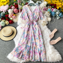 Dress Summer 2020 Purple pink on a white background S,M,L Mid length dress singleton  Short sleeve commute V-neck Decor zipper other other Others 18-24 years old Type A Korean version