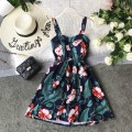 Dress Summer of 2019 Average size Short skirt singleton  Sleeveless commute V-neck High waist Decor Socket Princess Dress other camisole 18-24 years old Type A Korean version Pleated, open back, pleated, printed