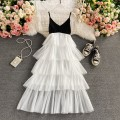 Dress Spring 2021 white S,M,L Mid length dress singleton  Sleeveless commute V-neck High waist Solid color Socket A-line skirt routine camisole 18-24 years old Type A Korean version 30% and below other other