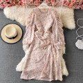 Dress Summer 2021 Average size Mid length dress singleton  Long sleeves commute Crew neck High waist Decor Socket A-line skirt puff sleeve 18-24 years old Type A Korean version Fold, lace up 30% and below other other