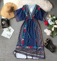 Dress Summer of 2019 Red, blue S,M,L,XL,2XL Mid length dress singleton  Short sleeve commute V-neck High waist Decor Socket A-line skirt routine Others 18-24 years old Type A Korean version Pleated, stitched, asymmetrical, wavy, printed