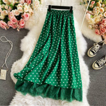 skirt Summer 2021 Average size White, black, green Mid length dress commute High waist other Dot Type A 18-24 years old