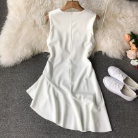 Dress Autumn of 2018 Average size Middle-skirt singleton  Sleeveless Sweet Crew neck High waist Solid color Socket Irregular skirt 18-24 years old Type A college