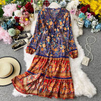 Dress Summer 2020 Decor S,M,L longuette singleton  Long sleeves commute V-neck High waist Decor Single breasted A-line skirt other Others 18-24 years old Type A Korean version Pleating, stitching, buttons