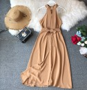 Dress Summer of 2019 Khaki, pink, orange, rose, green, light blue, red, black Average size Mid length dress singleton  Sleeveless commute Crew neck High waist Solid color Socket Big swing other Hanging neck style 18-24 years old Type A Korean version Bow, ruffle, open back, lace, wave
