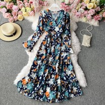 Dress Winter 2020 Light green, dark blue, light blue, white, green, red, black, yellow on a black background Average size Mid length dress singleton  Long sleeves commute V-neck High waist Decor Socket A-line skirt pagoda sleeve Others 18-24 years old Type A Korean version 30% and below other other