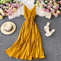 Dress Summer 2020 claret , green , yellow , navy blue , white , Watermelon red S,M,L Mid length dress singleton  Sleeveless commute V-neck High waist Solid color Socket A-line skirt routine camisole 18-24 years old Type A Korean version 30% and below other other