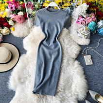 Dress Summer 2020 Average size Mid length dress singleton  Short sleeve commute Crew neck High waist Solid color Socket One pace skirt routine Others 18-24 years old Type X Korean version backless 30% and below knitting acrylic fibres