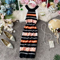 Dress Summer 2020 Black, pink, green, orange Average size Mid length dress singleton  Sleeveless commute Crew neck High waist stripe Socket A-line skirt routine Hanging neck style 18-24 years old Type X Korean version Open back, stitching 30% and below knitting acrylic fibres