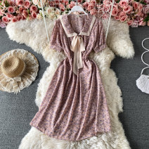 Dress Summer 2021 Pink, yellow, light green, black Average size Mid length dress singleton  Short sleeve commute other Elastic waist Broken flowers Socket A-line skirt puff sleeve Others 18-24 years old Type A Korean version Frenulum 30% and below other other