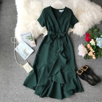 Dress Summer of 2019 Average size Mid length dress singleton  Short sleeve commute V-neck High waist Solid color Socket Irregular skirt other Others 18-24 years old Type A Korean version Bow, ruffle, lace, stitching, asymmetric