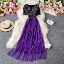 Dress Autumn 2020 violet S,M,L Mid length dress singleton  Short sleeve commute square neck High waist Decor Socket A-line skirt routine Others 18-24 years old Type A Korean version 30% and below other other