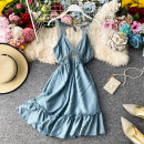 Dress Summer 2020 Peacock blue, black, white, light pink Average size Middle-skirt singleton  Sleeveless commute V-neck High waist Solid color Socket Princess Dress other camisole 18-24 years old Type A Korean version Ruffles, pleats, open back, lace, stitching, lace