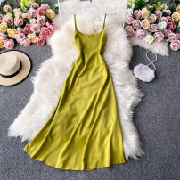 Dress Autumn 2020 Bright yellow, dark brown, apricot, black, blue, off white S,M,L Mid length dress singleton  Sleeveless commute V-neck High waist Solid color Socket A-line skirt routine camisole 18-24 years old Type A Korean version 30% and below other other