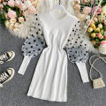 Dress Summer 2020 Red, black, white, green, light orange Average size Mid length dress singleton  Long sleeves commute Crew neck High waist Dot Socket A-line skirt puff sleeve Others 18-24 years old Type A Korean version Splicing 30% and below