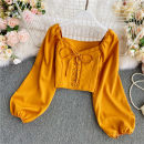 shirt Yellow, red, black, white Average size Summer 2021 other 30% and below Long sleeves commute Short style (40cm < length ≤ 50cm) V-neck Socket puff sleeve Solid color 18-24 years old Self cultivation Fold, lace up