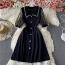 Dress Summer 2021 black Average size Middle-skirt singleton  Short sleeve commute Polo collar High waist Solid color Single breasted A-line skirt routine Others 18-24 years old Type A Korean version Button, mesh 30% and below other other