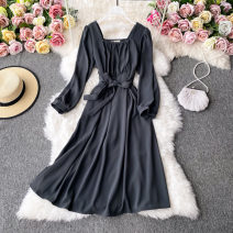 Dress Autumn 2020 Dark grey, dark blue, black, Dark Khaki Average size Mid length dress singleton  Long sleeves commute square neck High waist Solid color Socket A-line skirt routine Others 18-24 years old Type A Korean version 30% and below other other