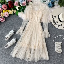Dress Autumn of 2019 Average size Mid length dress Two piece set Long sleeves commute Crew neck High waist Solid color Socket A-line skirt pagoda sleeve Others 18-24 years old Type A Korean version 31% (inclusive) - 50% (inclusive)