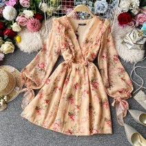 Dress Summer 2020 Pink yellow Average size Middle-skirt singleton  Long sleeves commute V-neck High waist Decor Socket A-line skirt puff sleeve Others 18-24 years old Type A Korean version 30% and below Chiffon polyester fiber