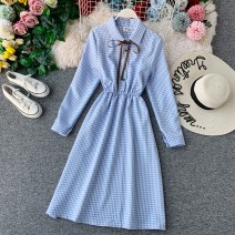 Dress Autumn of 2019 Average size Middle-skirt singleton  Long sleeves commute Polo collar High waist lattice Single breasted A-line skirt bishop sleeve Others 18-24 years old Type A Korean version 31% (inclusive) - 50% (inclusive) other other